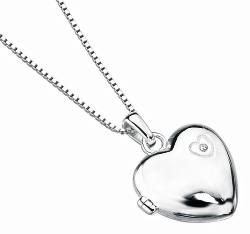 Silver locket with diamond
