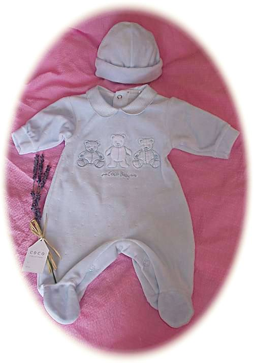 Baby's velour suit and hat