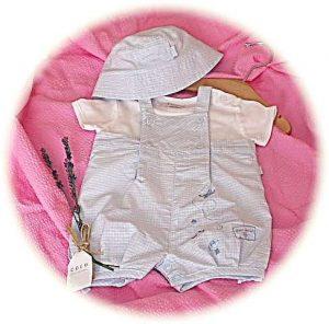 Baby boy's gingham romper suit suit